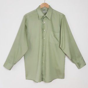 Sage Green Long Sleeve Button Up Dress Shirt L
